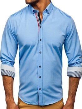 Мужская рубашка с рисунком и длинным рукавом голубого цвета Bolf 8843
