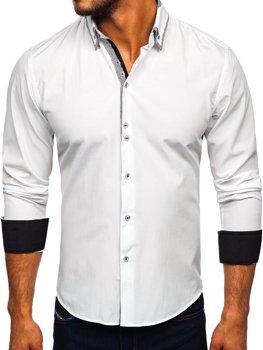 Мужская рубашка элегантная с длинным рукавом белая Bolf 6929-А