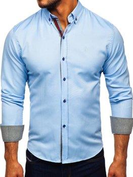 Мужская рубашка элегантная с длинным рукавом голубая Bolf 5801-А