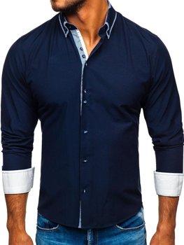 Мужская рубашка элегантная с длинным рукавом темно-синяя Bolf 6929-А