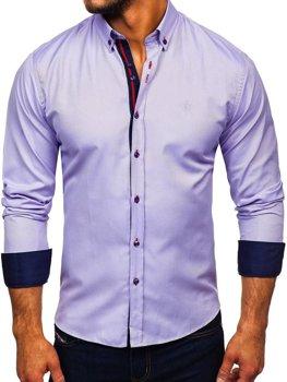 Мужская рубашка элегантная с длинным рукавом фиолетовая Bolf 5801-А