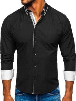 Мужская рубашка элегантная с длинным рукавом черная Bolf 6929-А