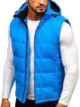 Мужская стеганая безрукавка с капюшоном синяя Bolf A5502
