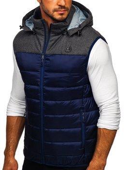 Мужская стеганая безрукавка с капюшоном темно-синяя Bolf AB045
