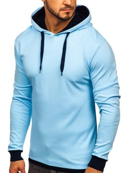 Мужская толстовка с капюшоном голубая Bolf 145380