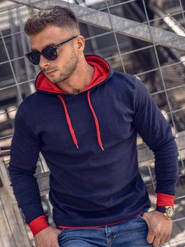 Мужская толстовка с капюшоном темно-синяя Bolf 145380