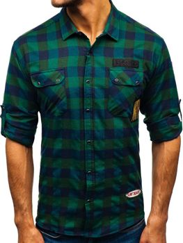Мужская фланелевая рубашка с длинным рукавом хаки Bolf 2503