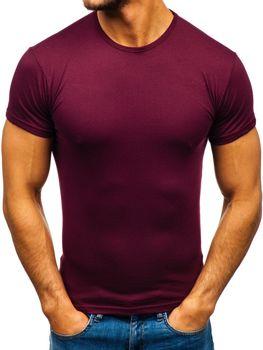 Мужская футболка без принта бордовая Bolf 0001