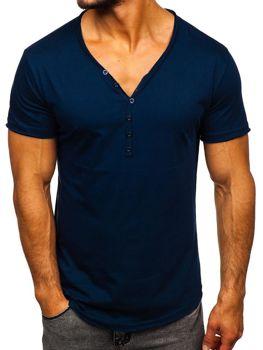 Мужская футболка без принта темно-синяя Bolf 4049
