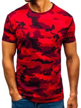 Мужская футболка камуфляж-красная Bolf S807