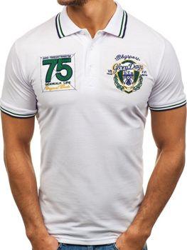 Мужская футболка поло белая Bolf 0605