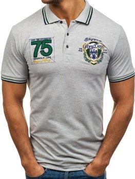 Мужская футболка поло серая Bolf 0605