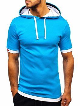 Мужская футболка с капюшоном бирюзовая Bolf 08-1