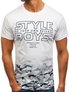 Мужская футболка с принтом белая Bolf 0010