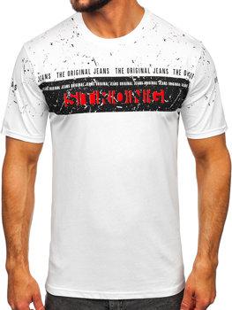Мужская футболка с принтом белая Bolf 14204