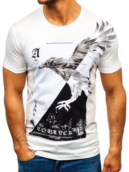 Мужская футболка с принтом белая Bolf 181210
