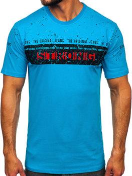 Мужская футболка с принтом бирюзовая Bolf 14204