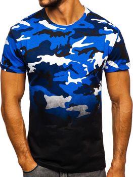 Мужская футболка с принтом камуфляж-синяя Bolf S808