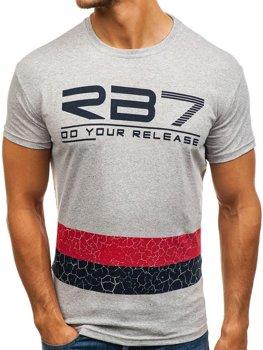 Мужская футболка с принтом серая Bolf 0008
