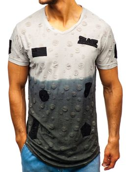 Мужская футболка с принтом серая Bolf 318