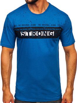 Мужская футболка с принтом синяя Bolf 14204