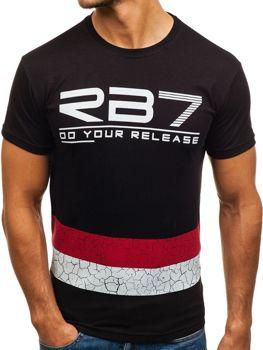 Мужская футболка с принтом черная Bolf 0008