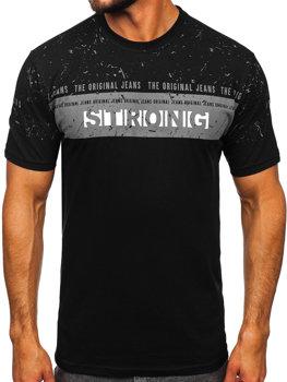 Мужская футболка с принтом черная Bolf 14204