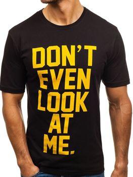 Мужская футболка с принтом черная Bolf 6294