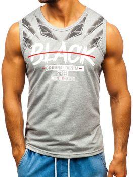 Мужская футболка tank top с принтом серая Bolf 14271