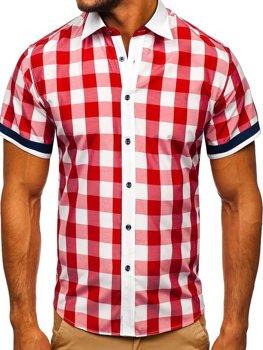 Мужская элегантная рубашка в клетку с коротким рукавом красная Bolf 8901