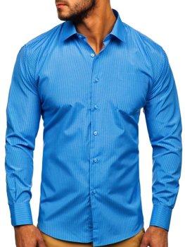 Мужская элегантная рубашка в полоску с длинным рукавом голубая Bolf NDT10