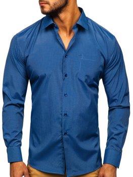 Мужская элегантная рубашка в полоску с длинным рукавом синяя Bolf NDT9