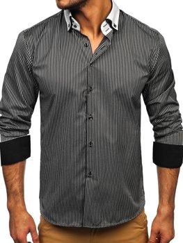 Мужская элегантная рубашка в полоску с длинным рукавом черная Bolf 0909-A