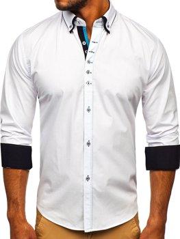 Мужская элегантная рубашка с длинным рукавом белая Bolf 3708