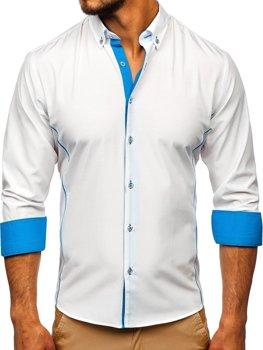 Мужская элегантная рубашка с длинным рукавом бело-голубая Bolf 5722-1-A