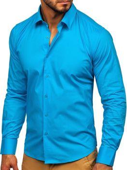 Мужская элегантная рубашка с длинным рукавом бирюзовая Bolf TS50