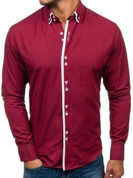 Мужская элегантная рубашка с длинным рукавом бордовая Bolf 1721-A