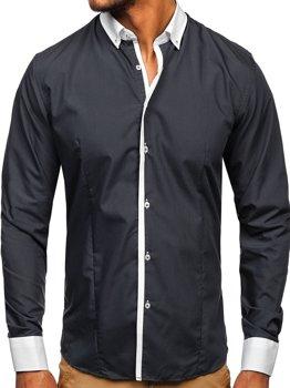 Мужская элегантная рубашка с длинным рукавом графитовая Bolf 2782