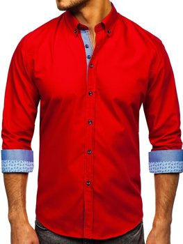 Мужская элегантная рубашка с длинным рукавом красная Bolf 8838-1