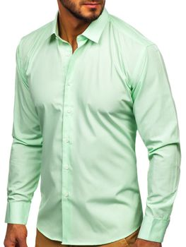 Мужская элегантная рубашка с длинным рукавом мятная Bolf 0001
