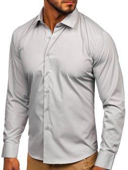 Мужская элегантная рубашка с длинным рукавом светло-серая Bolf 0001