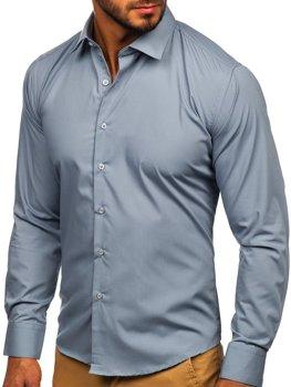 Мужская элегантная рубашка с длинным рукавом серая Bolf 0001