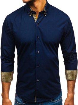 Мужская элегантная рубашка с длинным рукавом темно-синяя Bolf 4708