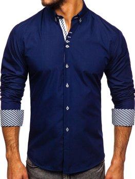 Мужская элегантная рубашка с длинным рукавом темно-синяя Bolf 5796