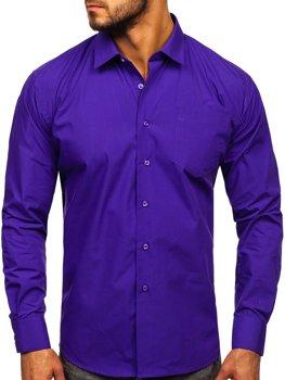 Мужская элегантная рубашка с длинным рукавом фиолетовая Bolf 0003