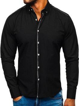 Мужская элегантная рубашка с длинным рукавом черная Bolf 6920