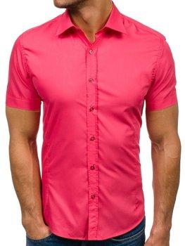 Мужская элегантная рубашка с коротким рукавом кораловая Bolf 7501