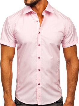 Мужская элегантная рубашка с коротким рукавом розовая Bolf 7501