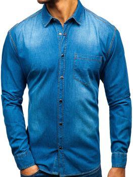 Мужские джинсовая рубашка с длинным рукавом синяя Bolf 1316