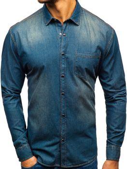 Мужские джинсовая рубашка с длинным рукавом темно-сине-серая Bolf 1316